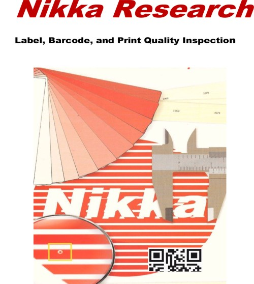 Nikka Research Label Inspection, Print Quality Inspection, Barcode Inspection, embossing, dye cut, color quality